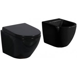ZESTAW PRIMO BLACK -  MUSZLA WC PRIMO BLACK + BIDE...